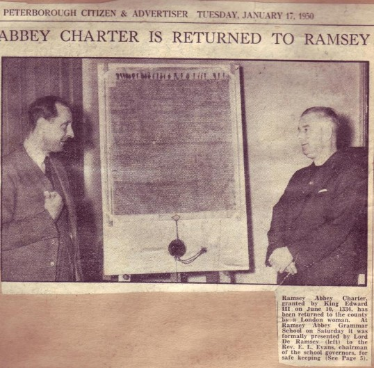 Presentation of KIng Edward's Charter to the Chairman of the Governors of Ramsey Grammar School by Lord De Ramsey