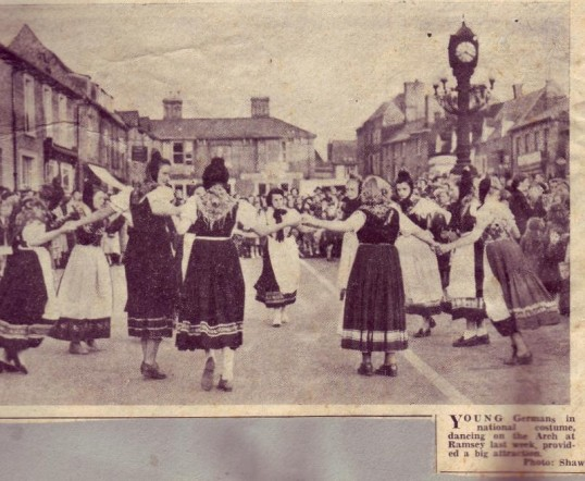 Group of German Girls on a visit to the area dancing in the Great Whyte, Ramsey
