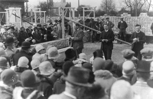 Prayers during construction of the Austin Memorial Sunday School, Chapel Road, Ramsey Heights 1929