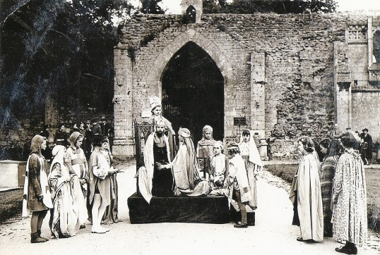 Pageant outside Ramsey Abbey Gateway by members of the Girls Friendly Society, to mark Coronation Year