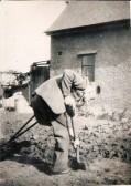Ted Cox of the Avenue, Ramsey, digging his garden, having lost his leg in the Second World War.