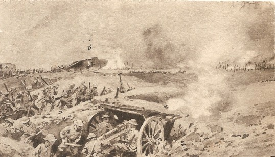 Great War.Postcard of Tanks at the taking of Combles.