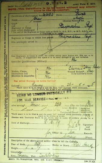 203150 Pte Hugh Shaw Discharge Certificate