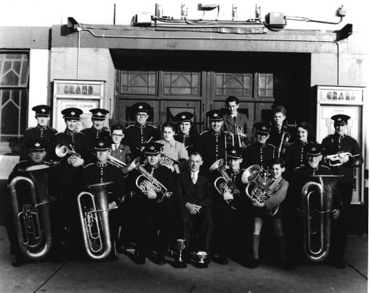 Ramsey Silver Town Band outside the Grand Cinema Ramsey 1953
