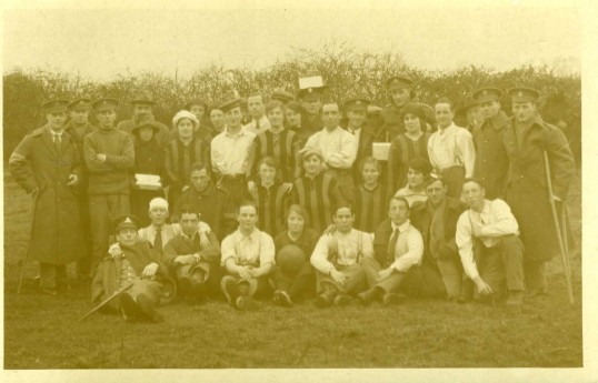 Lady Footballers at Abbots Ripton with wounded soldiers.