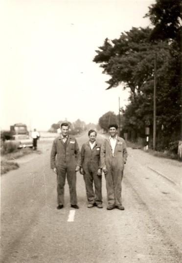 Charlie Whitwell, Ernie Francis & Derek Barnard on Oilmills Road, Ramsey Mereside