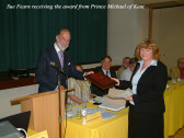 Sue Fearn, a director of ABM Publising Ltd receiving the Prince Michael of Kent Award in 2004