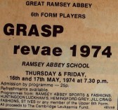 Ramsey Abbey School Sixth Form Grasp Review. 1974 Newspaper cuttings
