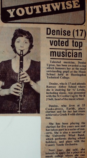 Ramsey Abbey School Sixth Form Grasp Review 1974. Denise Upton