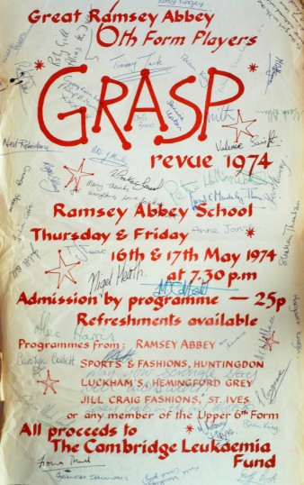Ramsey Abbey School Sixth Form Grasp Review 1974. Poster