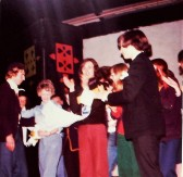 Ramsey Abbey School Sixth Form Grasp Review 1974. Presentation of the bouquet to Mrs Brading