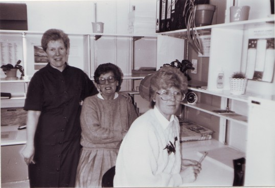 Carolla Wright Margaret Logan and Janet Masters working in the Undersale office.