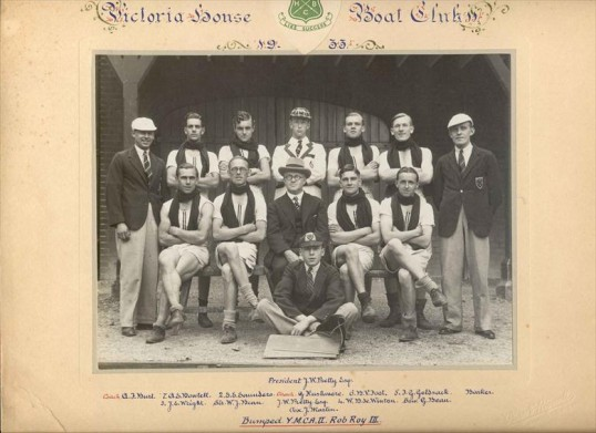 Robert Sayle Victoria House Boat Club Men's 2nd Crew. Victoria House Boat Club 1933