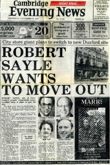 Newspaper cutting regarding relocation of Robert Sayle shop
