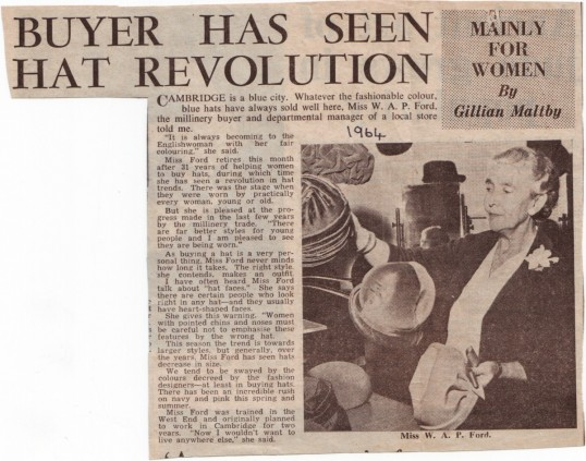 Miss Winifred Ford, millinery buyer and departmental manager at Robert Sayles from1933-1964