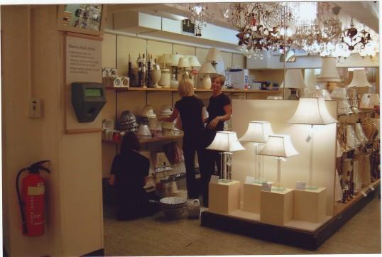 Partners merchandising in the lighting dept