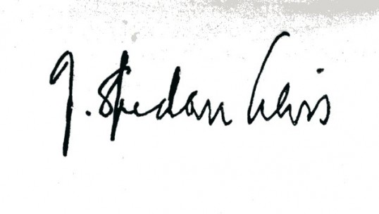 Signature of J Spedan Lewis, at the end of his message to Partners in M White's Partners' Handbook - Robert Sayle Cambridge.