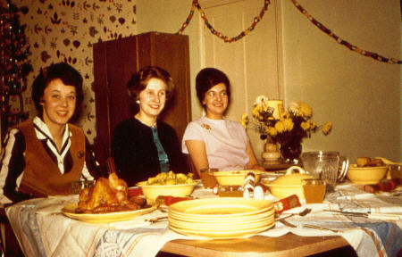 Christmas lunch in the hostel    Pauline Mortimere   Frances Waterson   Jean peck