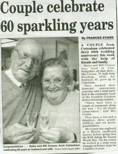 Bill and Daisy Croxon's diamond wedding celebrations