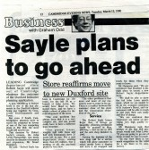 'Robert Sayle will move out of Cambridge'. Article  In the Cambridge Evening News.
