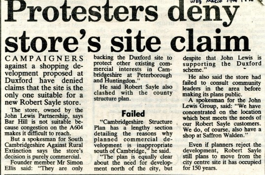 Protesters have their say. Article taken from the Cambridge Evening News