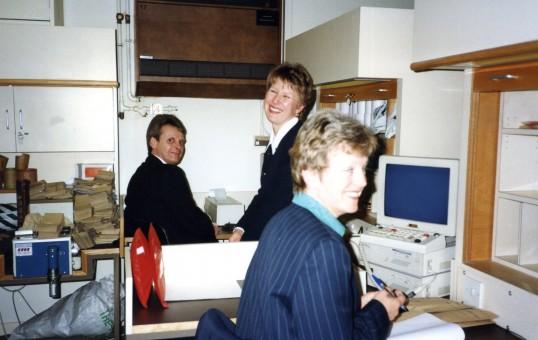 Trevor, Pam Bodger andLiz Richardson in the Robert Sayle Cash Office