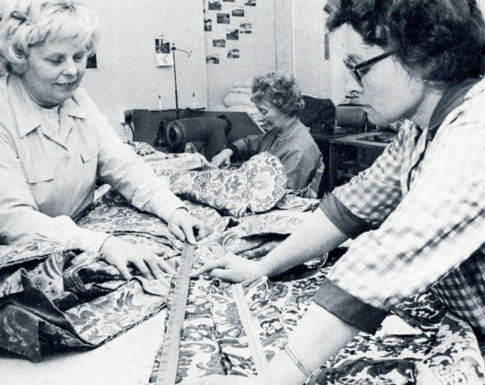 Ladies of the Robert Sayle Furnishing Fabric workroom making up the upholstery covers for the Upholstery workroom