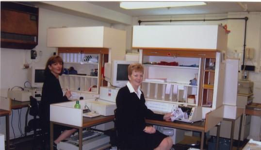 Liz Richardson and Cindy Eaton in Robert Sayle Cash office