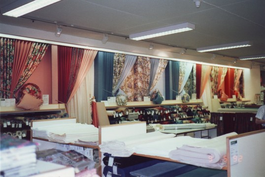 Side wall display in Robert Sayle Furnishing Fabrics Department