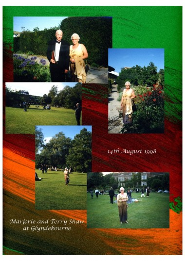 A collage of photographs of Marjorie and Terry Shaw representing Robert Sayle at Glyndebourne.