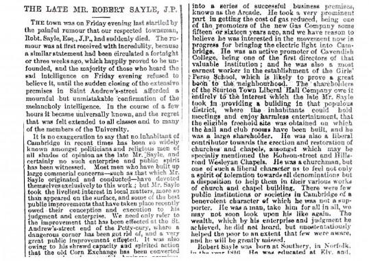 Newspaper notice of the death of  Mr Robert Sayle.