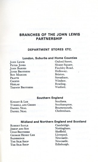 1977 list of John Lewis Department Stores with Robert Sayle listed under it's own name