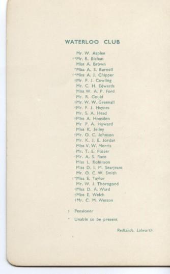 List of members of the Waterloo Club/25 year club. 1959