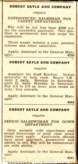 Advertisement for staff at Robert Sayle
