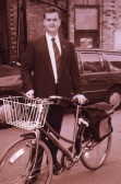 Iwan Bradshaw Hughes on the bicycle used to travel to and from the magnet service building in Mill Road.
