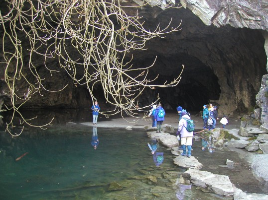 RS Rambling Club members on our annual visit to Ambleside Park exploring  Rydal Cave.