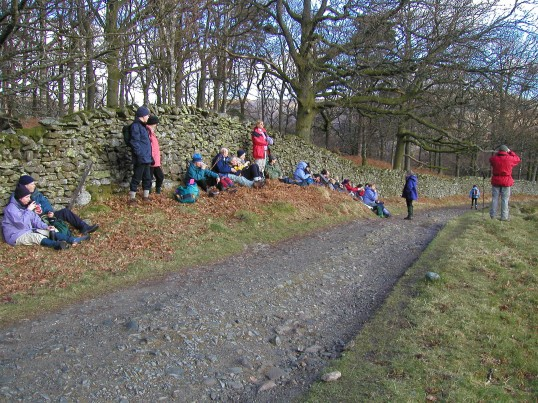 Robert Sayle Rambling Club coffee break time on Loughrigg Fell on a walk from Ambleside park.