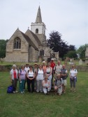 Rambling Club group by Coton Church on their walk from Newnham to Madingley and back.