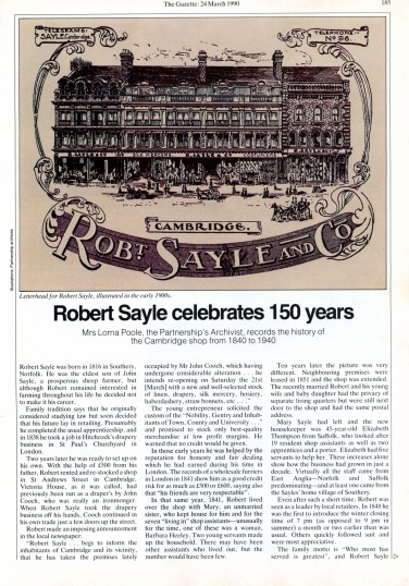 Article from the Gazette regarding 150 years of Robert Sayle