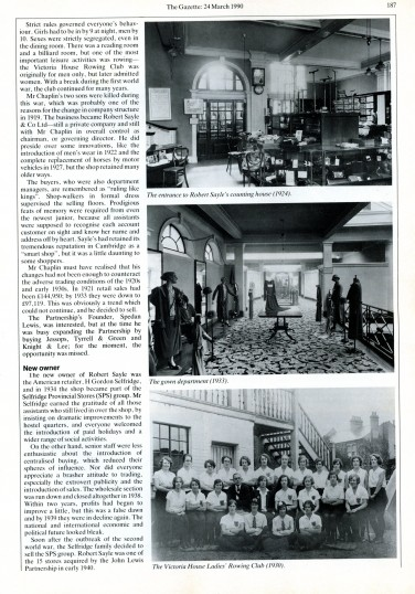 Part of the Gazette article, celebrating the 150th anniversary of the Robert Sayle Store 1840 - 1990
