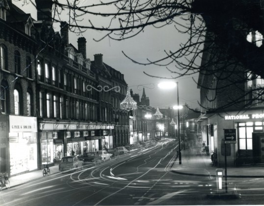 Robert Sayle trading at Christmas. Notice how quiet  St Andrews St is compared to today's traffic