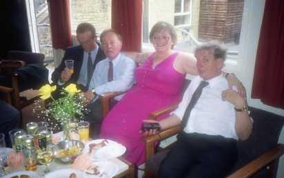John Phillips ,Barry Shipp, Pete McAdam and  Hilary Fox at John's retirement party.
