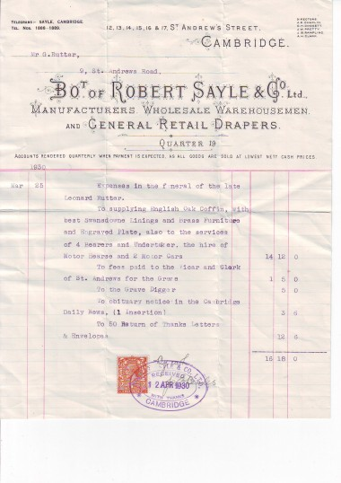 Bill for the funeral of the late Leonard Rutter.('Bot' shortened form of 'bought'.)