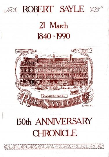 Robert Sayle 150th Anniversary Chronicle Edition, 1840 to 1990