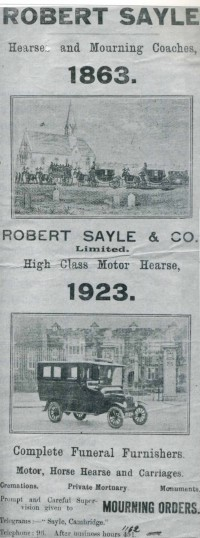 An Advertisement for the Robert Sayle Funeral Service in 1923