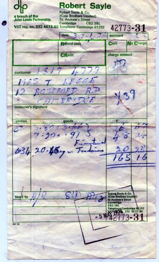 Handwritten receipt from 1976