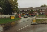 Junction the High Street & The Green,Sawtry flooding. Always happened during heavy rainfall.