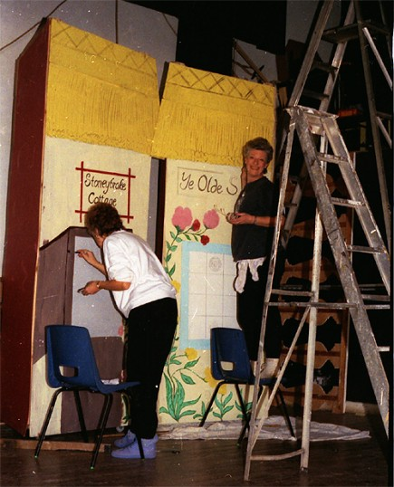 Stilton Players Sawtry. Painting scenery.