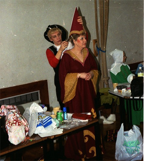 Stilton Players Sawtry. Getting prepared with help from a member of the cast.