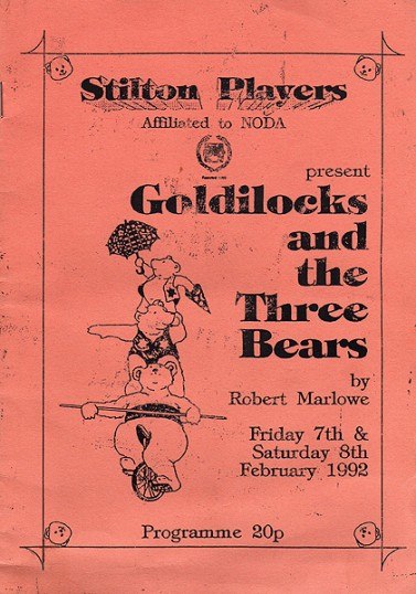 Stilton Players Programme for 'Goldilocks' Panto